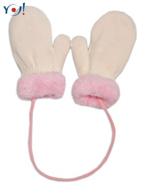 8cd66b19ba73 Zimné detské rukavice s kožušinou - šnúrkou YO - smotanová ružová kožušina