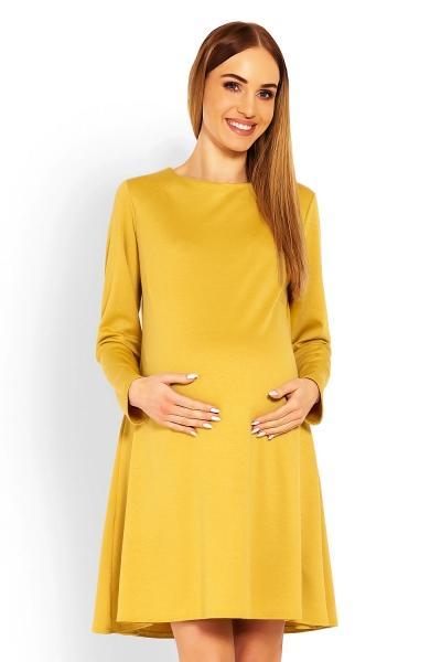 6c789990b07e Elegantné voľné tehotenské šaty dl. rukáv - hořčicová