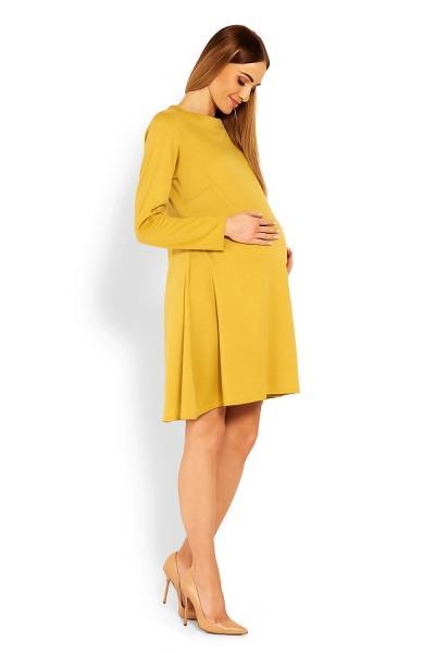 Elegantné voľné tehotenské šaty dl. rukáv - hořčicová 97ab6dd9503