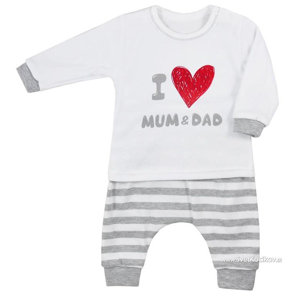 69e5aeeab64c Dojčenské tepláčky a tričko Koala Mum and Dad Sivá 86 (12-18m)