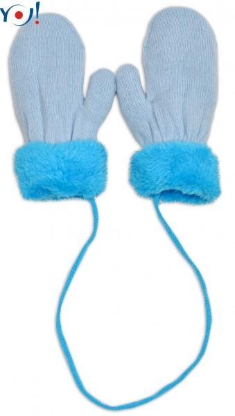 9b46ba808190 Zimné detské rukavice s kožušinou - šnúrkou YO - sv. modrá modrá kožušina