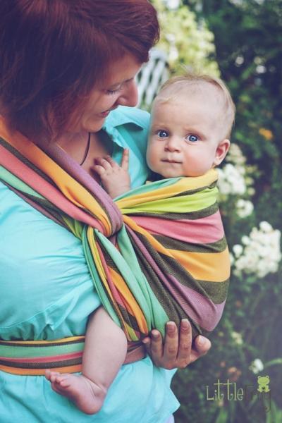 Little FROG Tkaný šatka na nosenie detí - Slnečný Fluoryt 7d8ee7b494