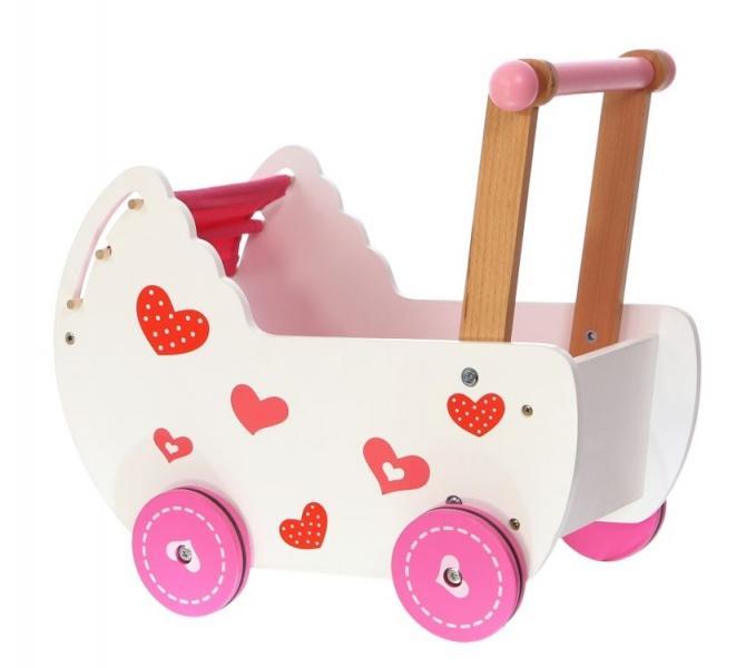 ffc63e9637d27 Drevený kočík pre bábiky ECO TOYS - ružový