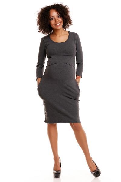 8e1b6a480 Pohodlné tehotenské šaty, 3/4 rukáv - grafitové(dojčiace), veľ. L/XL, L/XL