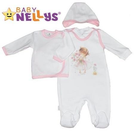 8b0d036dfda5 4-dielna dojčenská sada oblečenie do porodnice Baby Nellys ® - biela sv.  růžový lem