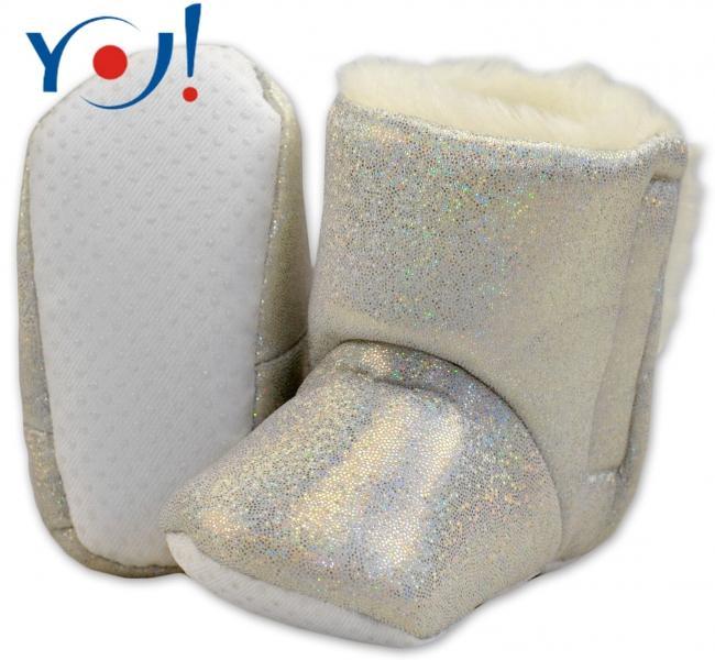 4445141c44fc3 YO ! Zimné topánky/šľapky s kožušinou YO! -lesklé-bielé, 12/18měsíců