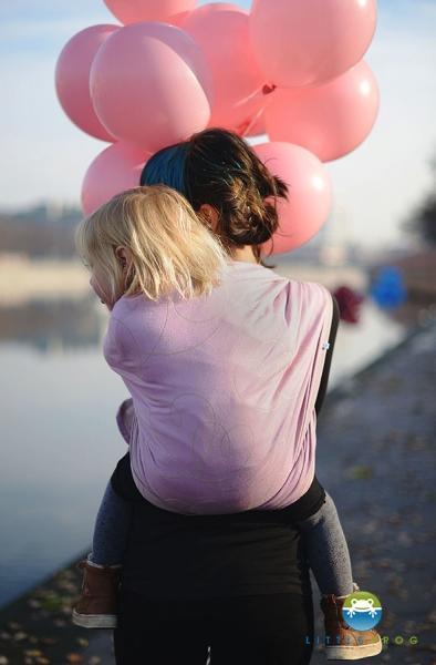 Little FROG Žakárová tkaná šatka na nosenie detí - LILAC HEARTBEAT 80338894c4