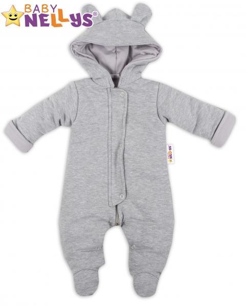 Oteplenie overal   kombinézka s kapucňu a uškami Baby Nellys ® - sivý 150277e8077