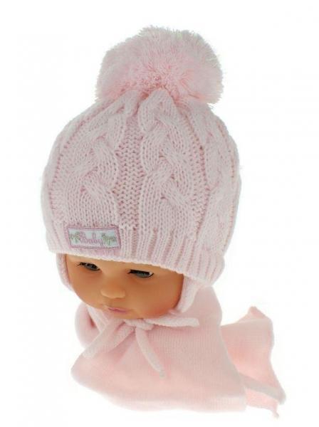 ea9edeafe Zimná pletená čiapočka s šálom Baby Bear - ružová s brmbolcami, 34/36  čepičky obvod