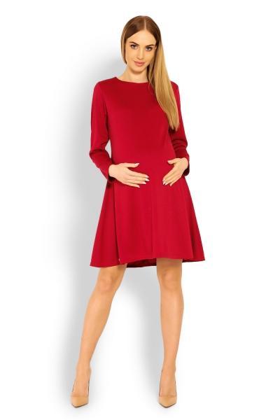 2c40fce7e522 Be MaaMaa Elegantné voľné tehotenské šaty dl. rukáv - bordo