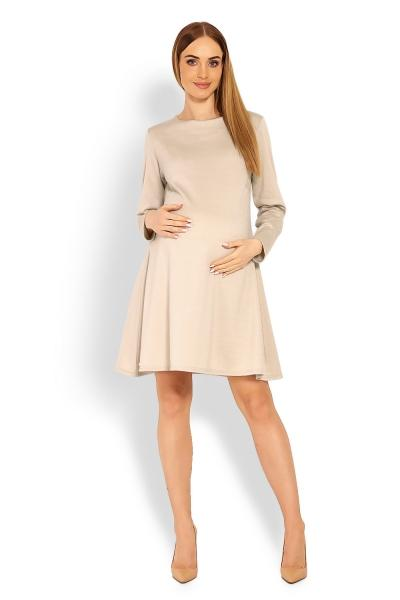 303681c01468 Elegantné voľné tehotenské šaty dl. rukáv - béžové