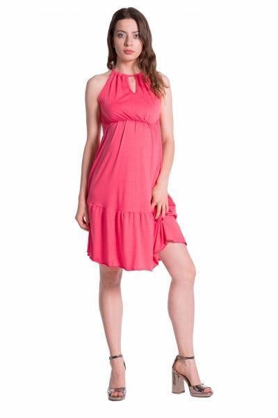 eed82a075 Letné tehotenské šaty na ramienkach - korálové, UNI