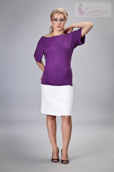 678b67955547 Elegantná tehotenská sukňa DENIM - biela