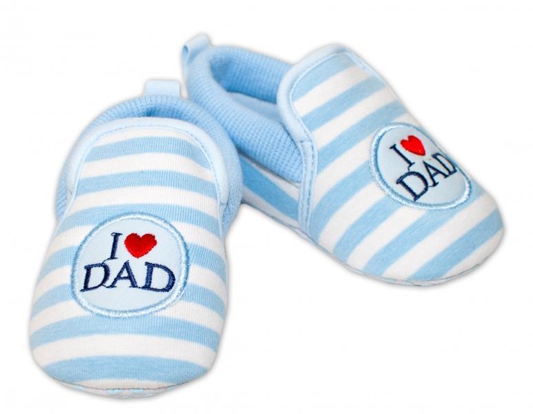 bdb5c3cb5c0e6 YO! Dojčenské topánky /capáčky I love Dad - modré, 0/6 měsíců