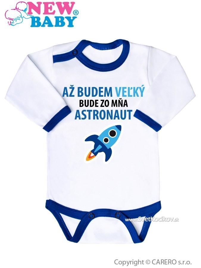b209bc7bfa87 Body s potlačou New Baby AŽ BUDEM VEĽKÝ BUDE ZO MŇA ASTRONAUT Modrá 68  (4-6m)
