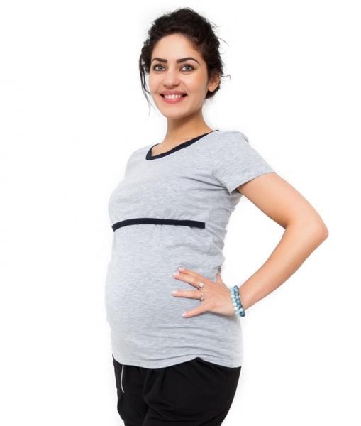 784747e9d764 Tehotenské a dojčiace tričko - svetlo sivá
