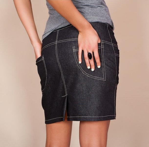 ed785be94578 Tehotenské sukne JEANS s vreckami - čierna