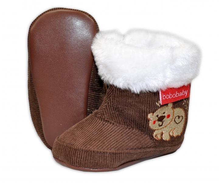 3758cd873c04 Menčestrové zimné topánočky BOBO BABY s kožušinkou - Medvedík - hnedé