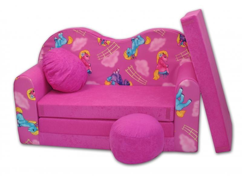 983db3dd48b6 Rozkladacia detská pohovka V - Poníky v růžovom