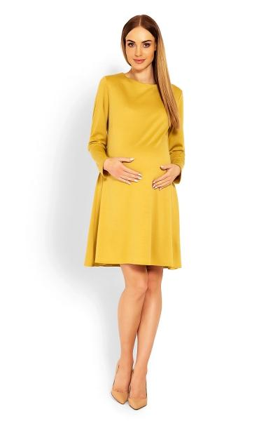 5b5116c29a7b Elegantné voľné tehotenské šaty dl. rukáv - hořčicová