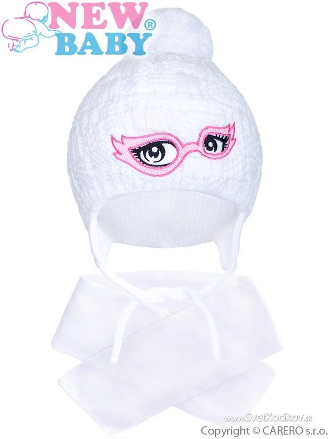 03fddcdec Zimná detská pletená čiapočka so šálom New Baby biela Biela 104 (3-4r)