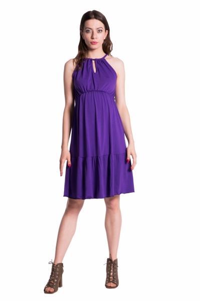 Letné tehotenské šaty na ramienkach - fialové 15ec2a6f506
