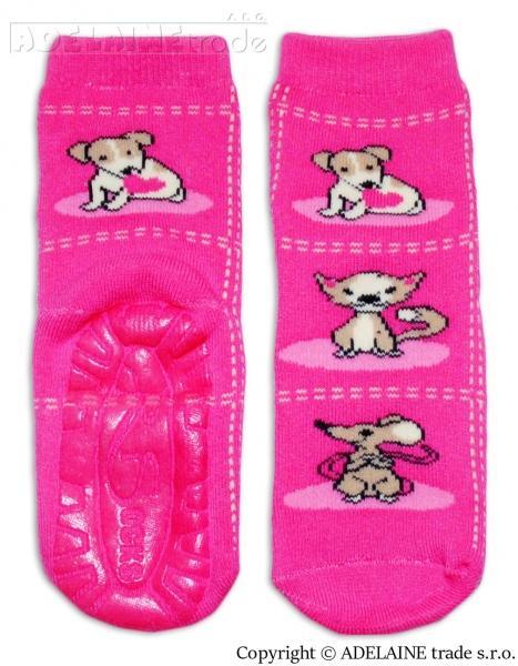 0ff2304b0f617 Froté ponožky s ABS (protišmyková úprava) - Zvieratká ružová, 31-34 vel.  ponožek
