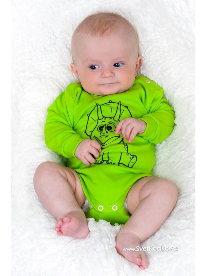 862df69b8a22 Dojčenské body s dlhým rukávom New Baby Zvieratko Dinosaurus svetlo zelené  Zelená 74 (6-9m)