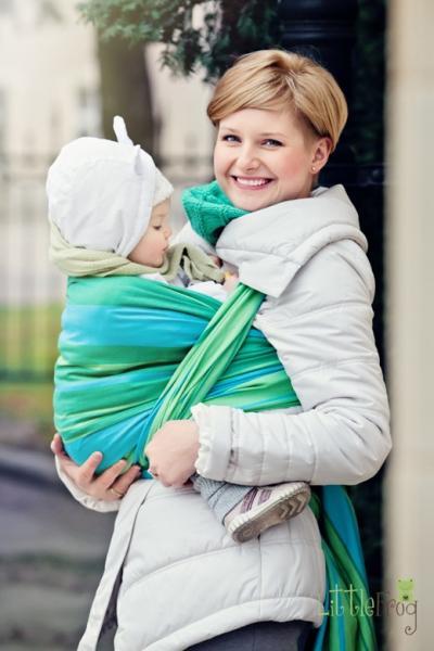 Little FROG Tkaný šatka na nosenie detí - Tyrkys 0d7429f045