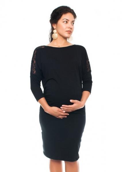 Elegantné tehotenské šaty s čipkou - čierne 41fb536befe