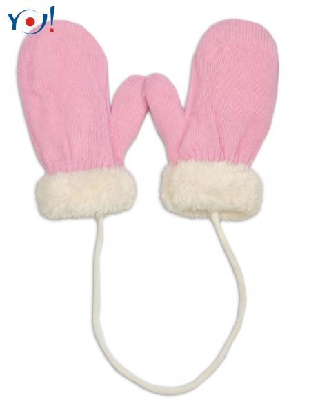 873a784ec02e Zimné detské rukavice s kožušinou - šnúrkou YO - sv. ružová smotanová  kožušina