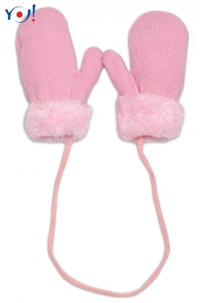 c09dd1ade1d1 Zimné detské rukavice s kožušinou - šnúrkou YO - sv. ružová ružová kožušina