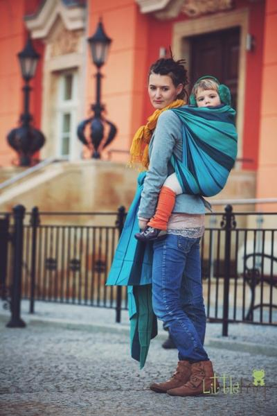 Little FROG Tkaný šatka na nosenie detí s vlnou MERINO - Chrysocolla 1e923cda6d