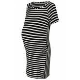 088f078e4ef8 Tehotenské prúžkované šaty s Kr. rukávom a vreckami - ecru čierna