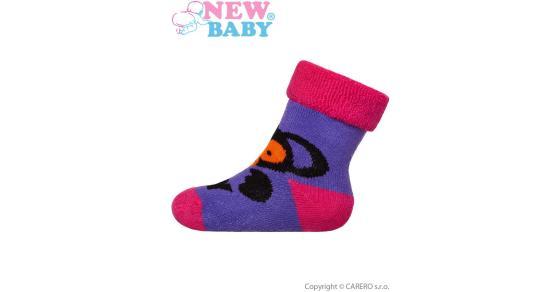 9b9b1ca2b4c Detské froté ponožky New Baby fialové s opicí Fialová 74 (6-9m)